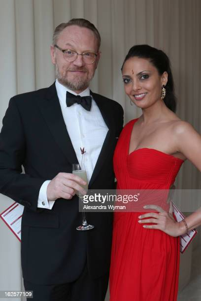 Actor Jared Harris and Allegra Riggio attend Grey Goose at 21st Annual Elton John AIDS Foundation Academy Awards Viewing Party at West Hollywood Park...