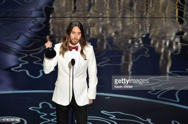 Actor Jared Leto accepts the Best Performance by an Actor in a Supporting Role award for 'Dallas Buyers Club' onstage during the Oscars at the Dolby...