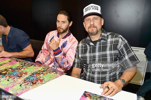 Actor Jared Leto and director David Ayer from the cast of Suicide Squad film participates in an autograph session for fans in DC's 2016 Comic-Con...