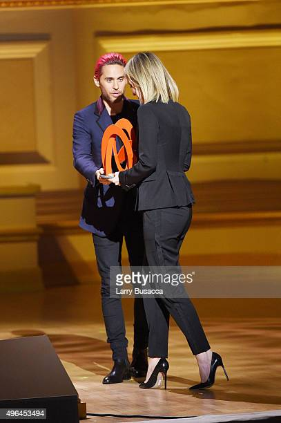 Actor Jared Leto and Honoree Elizabeth Holmes onstage at the 2015 Glamour Women of the Year Awards on November 9 2015 in New York City