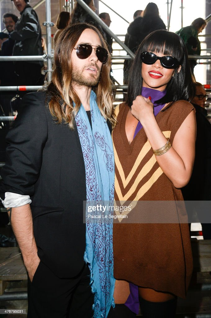 Actor Jared Leto and Rihanna attend the Miu Miu show as part of the Paris Fashion Week Womenswear Fall/Winter 2014-2015 on March 5, 2014 in Paris, France.