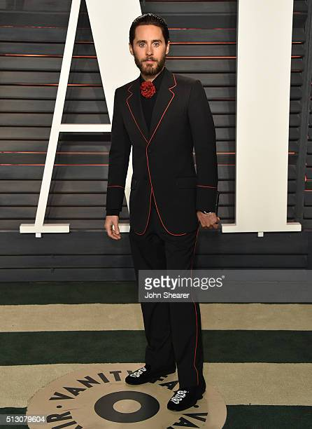 Actor Jared Leto arrives at the 2016 Vanity Fair Oscar Party Hosted By Graydon Carter at Wallis Annenberg Center for the Performing Arts on February...
