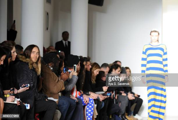 Actor Jared Leto attends the Jeremy Scott fashion show during MADE Fashion Week Fall 2014 at Milk Studios on February 12 2014 in New York City
