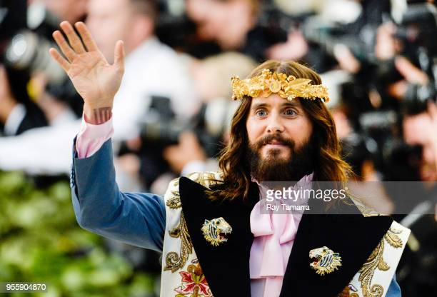 Actor Jared Leto enters the Heavenly Bodies Fashion The Catholic Imagination Costume Institute Gala at The Metropolitan Museum on May 07 2018 in New...