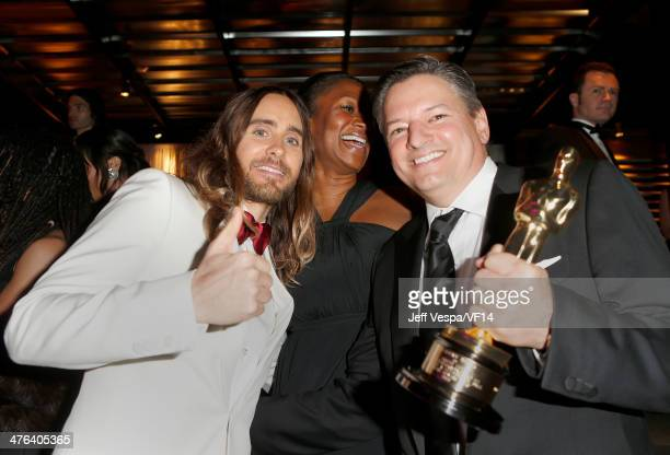 Actor Jared Leto former US Ambassador to The Bahamas Nicole Avant and Netflix Chief Content Officer Ted Sarandos attend the 2014 Vanity Fair Oscar...