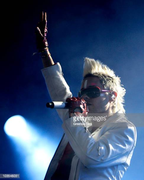 Actor Jared Leto of 30 Seconds To Mars performs during day three of the Lowlands Festival 2010 on August 22 2010 in Biddinghuizen Netherlands