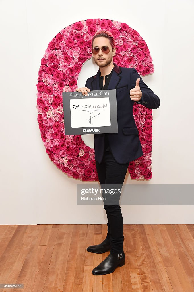Actor Jared Leto poses for a photo at the backstage inspiration wall at the 2015 Glamour Women of the Year Awards at Carnegie Hall on November 9, 2015 in New York City.