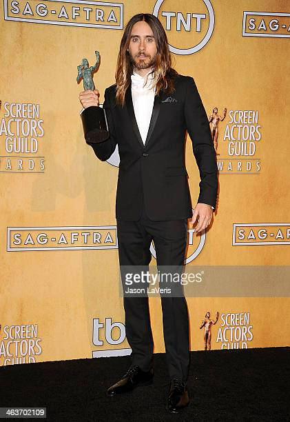 Actor Jared Leto poses in the press room at the 20th annual Screen Actors Guild Awards at The Shrine Auditorium on January 18 2014 in Los Angeles...