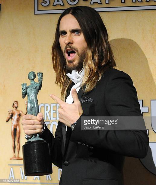 Actor Jared Leto poses in the press room at the 20th annual Screen Actors Guild Awards at The Shrine Auditorium on January 18, 2014 in Los Angeles,...