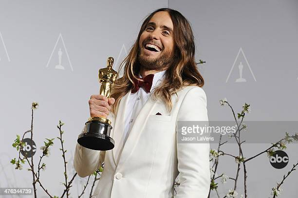 Actor Jared Leto poses in the press room at the 86th annual Academy Awards at Dolby Theatre on March 2, 2014 in Hollywood, California.