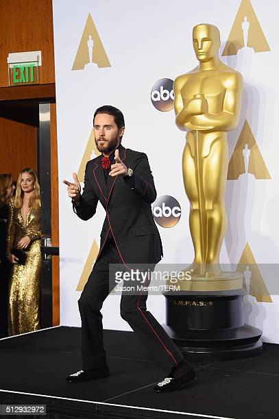 Actor Jared Leto poses in the press room during the 88th Annual Academy Awards at Loews Hollywood Hotel on February 28 2016 in Hollywood California
