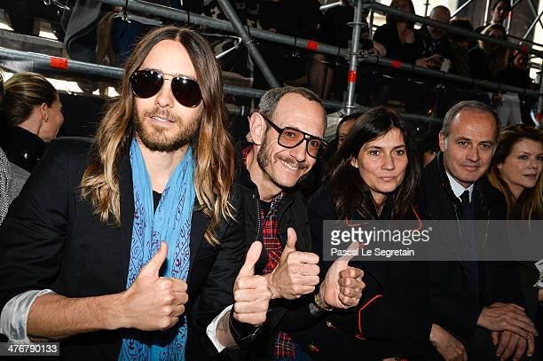 Actor Jared Leto Terry Richardson Emmanuelle Alt and Xavier Romatet attend the Miu Miu show as part of the Paris Fashion Week Womenswear Fall/Winter...