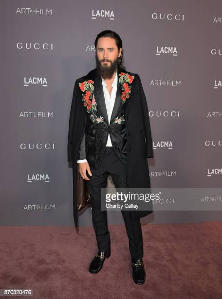 Actor Jared Leto wearing Gucci attends the 2017 LACMA Art Film Gala Honoring Mark Bradford and George Lucas presented by Gucci at LACMA on November 4...