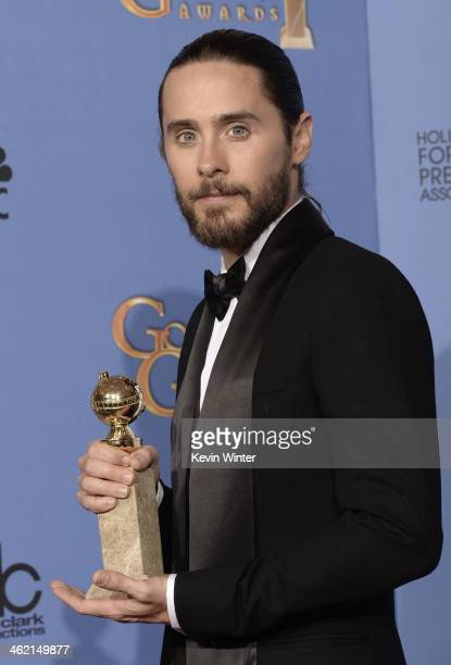 Actor Jared Leto winner of Best Supporting Actor in a Motion Picture Drama Musical or Comedy for 'Dallas Buyers Club' poses in the press room during...