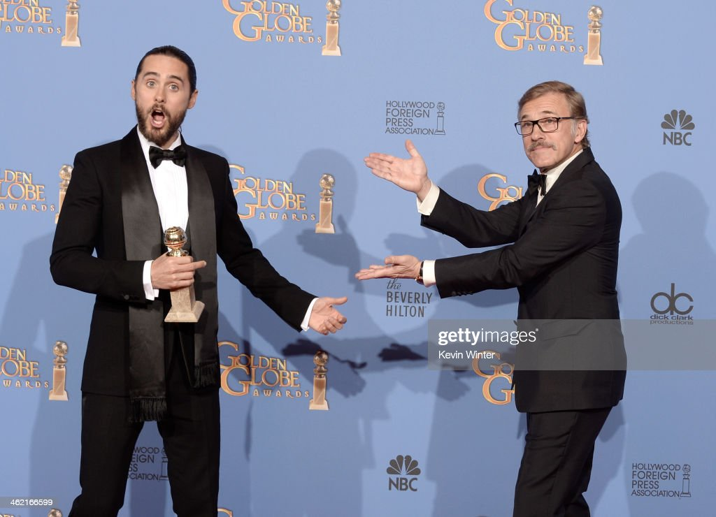 Actor Jared Leto (L), winner of Best Supporting Actor in a Motion Picture - Drama, Musical or Comedy for 'Dallas Buyers Club,' and actor Christoph Waltz pose in the press room during the 71st Annual Golden Globe Awards held at The Beverly Hilton Hotel on January 12, 2014 in Beverly Hills, California.