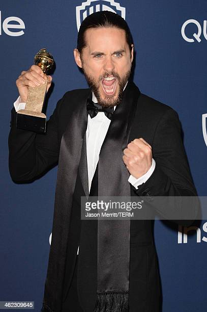 Actor Jared Leto winner of Best Supporting Actor in a Motion Picture Drama Musical or Comedy for 'Dallas Buyers Club' attends the 2014 InStyle and...