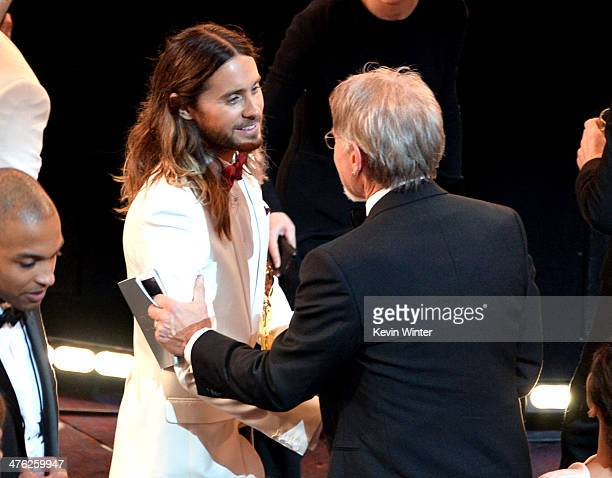 Actor Jared Leto winner of the Best Performance by an Actor in a Supporting Role award for 'Dallas Buyers Club' and actor Harrison Ford in the...