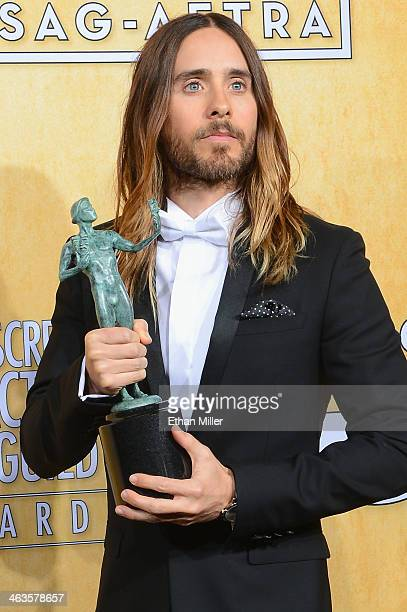Actor Jared Leto winner of the Outstanding Performance by a Male Actor in a Supporting Role award for 'Dallas Buyers Club' poses in the press room...
