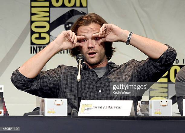 Actor Jared Padalecki appears onstage at the 'Supernatural' panel during ComicCon International 2015 at the San Diego Convention Center on July 12...