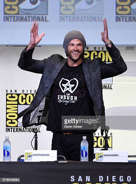 Actor Jared Padalecki attends the 'Supernatural' Special Video Presentation And QA during ComicCon International 2016 at San Diego Convention Center...