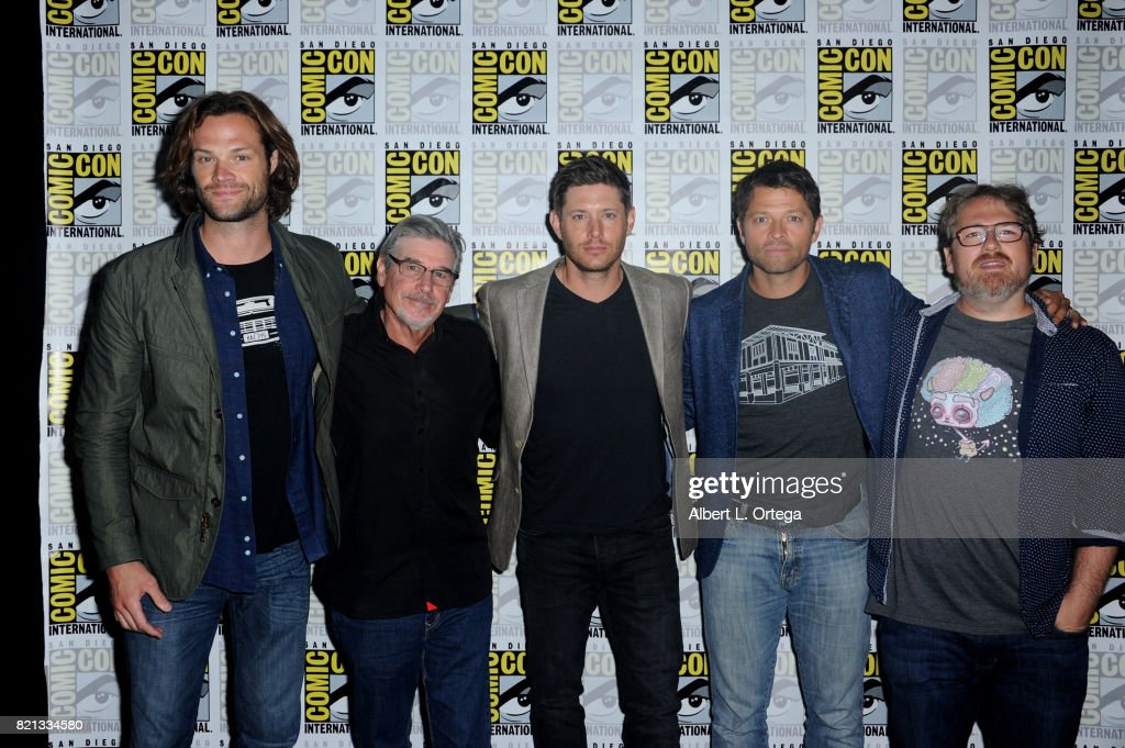 Actor Jared Padalecki, writer/producer Robert Singer, actors Jensen Ackles and Misha Collins, and writer/producer Andrew Dabb at the 'Supernatural' panel during Comic-Con International 2017 at San Diego Convention Center on July 23, 2017 in San Diego, California.