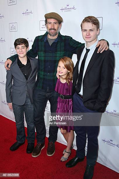 Actor Jaren Lewinson Actor Jason Lee Actress Maggie Elizabeth and Actor Connor Paton arrive at Hallmark Hall Of Fame's Away Back Exclusive Premiere...