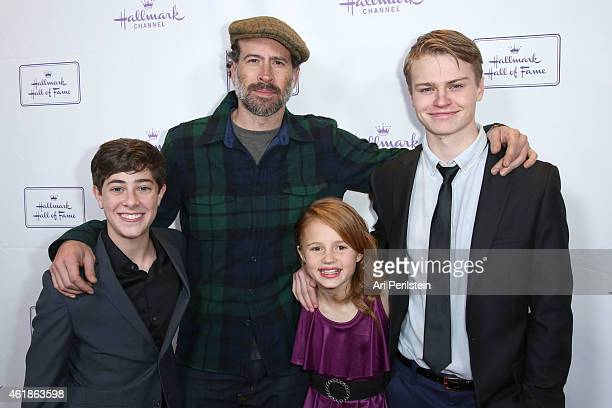 """Actor Jaren Lewinson, Actor Jason Lee, Actress Maggie Elizabeth, and Actor Connor Paton arrive at Hallmark Hall Of Fame's """"Away & Back"""" Exclusive..."""
