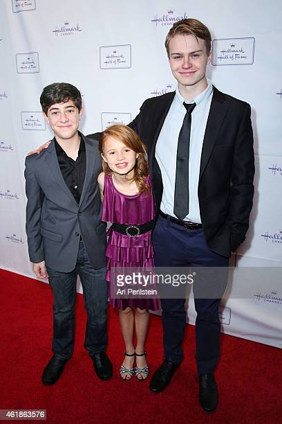 """Actor Jaren Lewinson, Actress Maggie Elizabeth, and Actor Connor Paton arrive at Hallmark Hall Of Fame's """"Away & Back"""" Exclusive Premiere Event at..."""