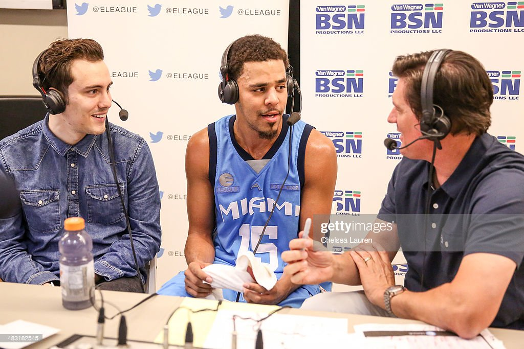 Actor Jarod Einsohn, recording artist J. Cole and E-League founder Shane Duffy attend the E-League celebrity basketball game at Equinox Sports Club West LA on April 6, 2014 in Los Angeles, California.