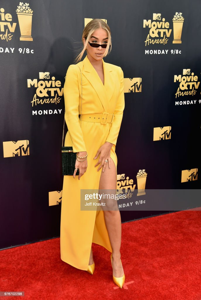 Actor Jasmine Sanders attends the 2018 MTV Movie And TV Awards at Barker Hangar on June 16, 2018 in Santa Monica, California.