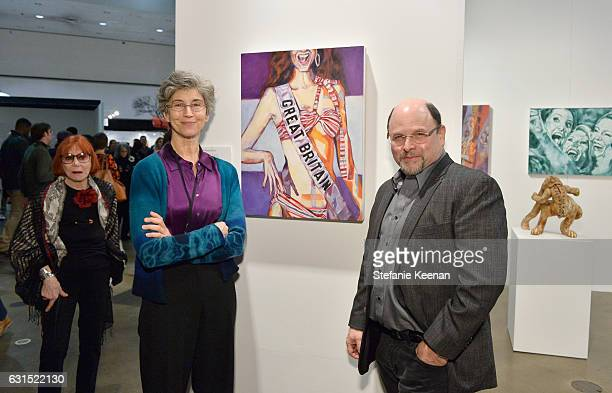 Actor Jason Alexander and actress Daena E Title attend the LA Art Show 2017 opening night premiere hosted by Emma Roberts benefiting St Jude...