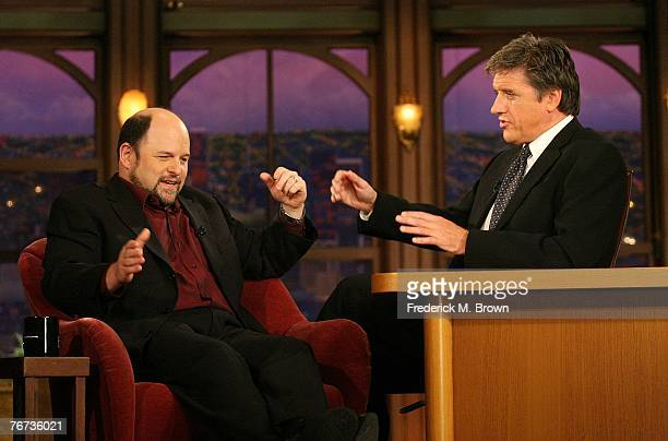 Actor Jason Alexander and host Craig Ferguson speak during a segment of The Late Late Show with Craig Ferguson at CBS Television City on September 13...