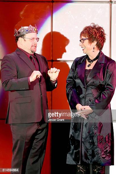 Actor Jason Alexander and producer Susan Dietz speak onstage during the 24th and final A Night at Sardi's to benefit the Alzheimer's Association at...