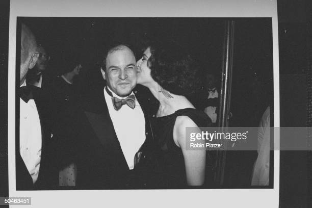 Actor Jason Alexander being kissed t at the 43rd Annual Tony Awards ceremony