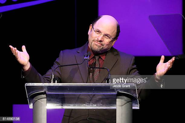 Actor Jason Alexander speaks onstage during the 24th and final A Night at Sardi's to benefit the Alzheimer's Association at The Beverly Hilton Hotel...