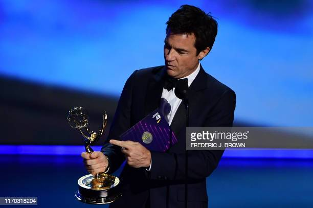 """Actor Jason Bateman accepts the award for Outstanding Directing For A Drama Series for """"Ozark"""" onstage during the 71st Emmy Awards at the Microsoft..."""