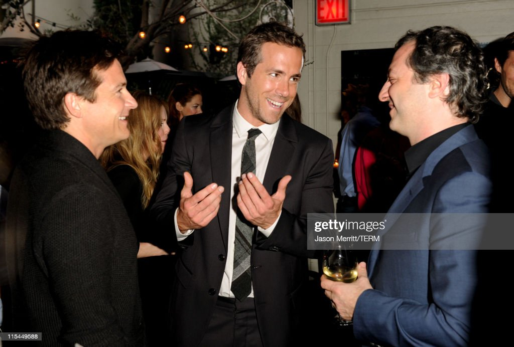 Actor Jason Bateman, Actor Ryan Reynolds, and Director/Producer Judd Apatow attend the Details Magazine/Ryan Reynolds Party at Dominick's Restaurant on June 6, 2011 in Los Angeles, California.