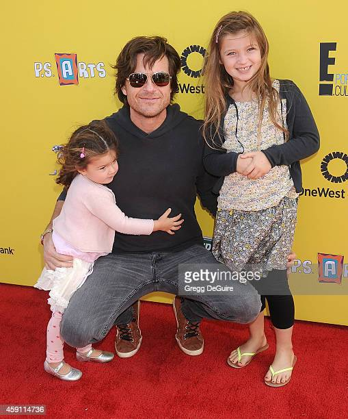 Actor Jason Bateman and children arrive at the PS ARTS Express Yourself 2014 at The Barker Hanger on November 16 2014 in Santa Monica California