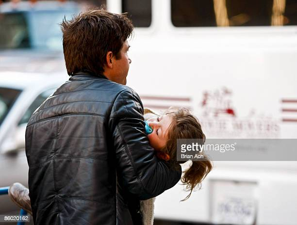 Actor Jason Bateman and daughter Francesca Nora seen on the streets of Manhattan on April 17 2009 in New York City