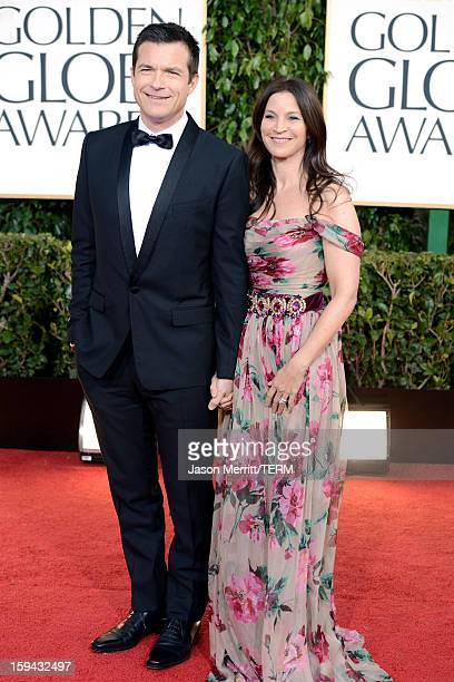Actor Jason Bateman and wife Amanda Anka arrive at the 70th Annual Golden Globe Awards held at The Beverly Hilton Hotel on January 13 2013 in Beverly...