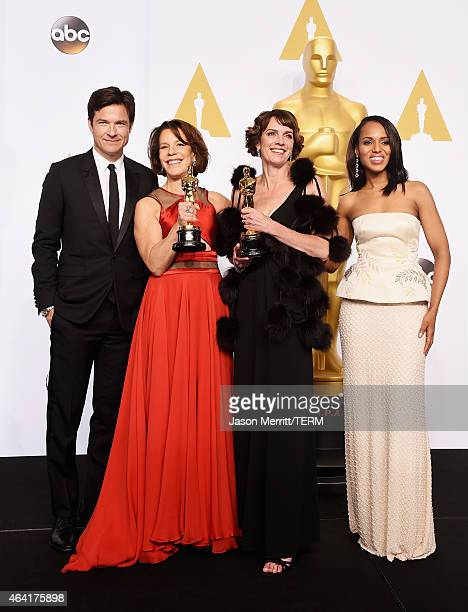 Actor Jason Bateman director Ellen Goosenberg Kent and Producer Dana Perry winners of the Best Documentary Short Award for 'Crisis Hotline Veterans...