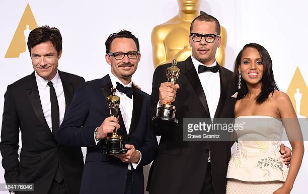 Actor Jason Bateman director/writer Mat Kirkby producer/writer James Lucas and actress Kerry Washington pose in the press room during the 87th Annual...
