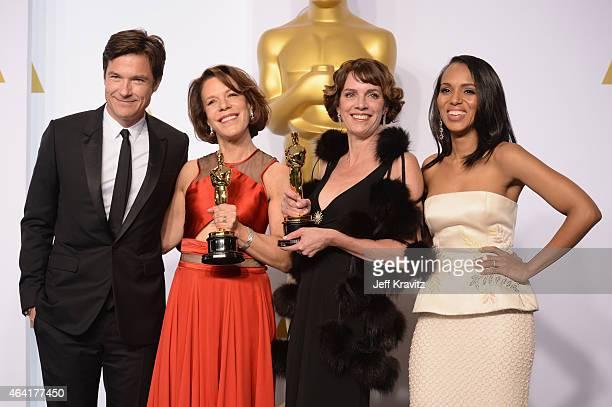 Actor Jason Bateman filmmakers Ellen Goosenberg Kent and Dana Perry with the award for Best Documentary – Short Subject for Crisis Hotline Veterans...