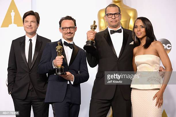 "Actor Jason Bateman, James Lucas and Mat Kirby, with the award for best live action short film for ""The Phone Call"", and actress Kerry Washington..."