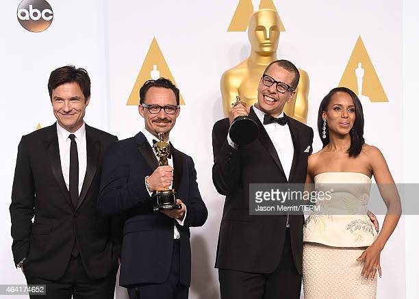 Actor Jason Bateman, Mat Kirkby and James Lucas winners of the Best Live Action Short Film Award for 'The Phone Call', and actress Kerry Washington...