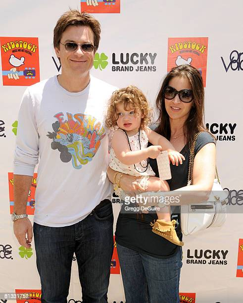 Actor Jason Bateman wife Amanda and daughter Francesca arrive at the 2nd Annual Kidstock Music And Art Festival on June 1 2008 at Greystone Mansion...
