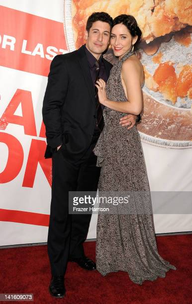 Actor Jason Biggs and actress Jenny Mollen arrive at the Premiere of Universal Pictures' American Reunion at Grauman's Chinese Theatre on March 19...