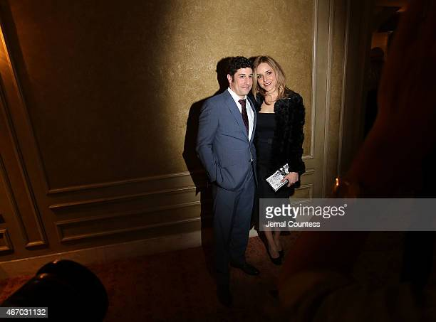 Actor Jason Biggs and author/actress Jenny Mollen pose for a photo at The Heidi Chronicles Broadway Opening Night at The Music Box Theatre on March...