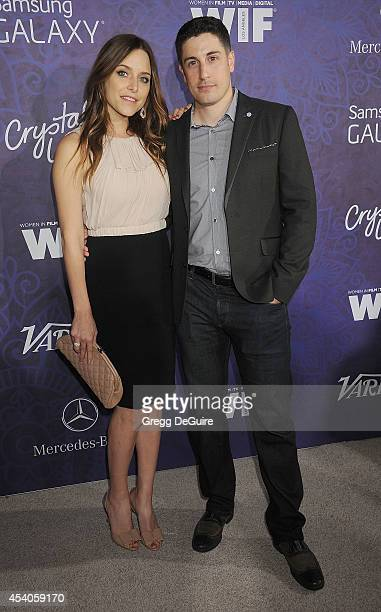 Actor Jason Biggs and wife Jenny Mollen arrive at the Variety And Women In Film Annual PreEmmy Celebration at Gracias Madre on August 23 2014 in West...