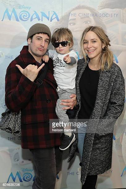 Actor Jason Biggs Sid Biggs and Jenny Mollen attend the Cinema Society Screening of Disney's Moana at Metrograph on November 20 2016 in New York City